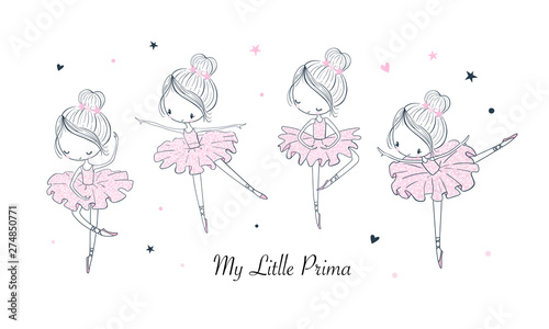 Fotografie, Obraz  Cartoon dancing ballerina vector illustrations set