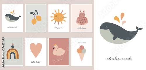 obraz lub plakat Baby, children, little kids cards, posters in simple, clean modern style. Perfect for nursery decor, fashion design