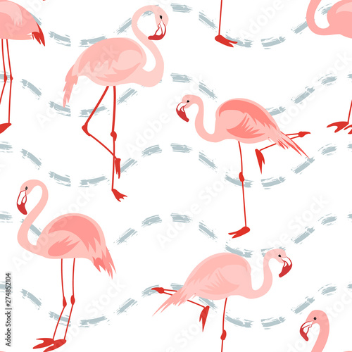 Canvas Prints Flamingo Seamless pattern with pink flamingo