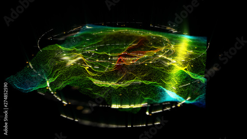 In de dag Fractal waves Futuristic Holographic Terrain environment, geomorphology, topography and digital data telemetry information display motion graphic user interface head up display screen