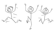 Vector Cartoon Stick Figure Drawing Conceptual Illustration Of Group Of Men Or Businessmen Running Away In Panic.