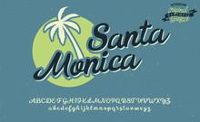 Santa Monica. Summer Beach Logo. Vector Illustration. Retro Serif And Script Typeface And Logo. Summer Style. California, Hawaii, Waikiki Beach. Script Typeface.