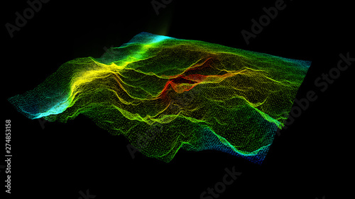 Futuristic Holographic Terrain environment, geomorphology, topography and digital data telemetry information display motion graphic user interface head up display screen