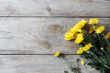 Vintage Yellow Chrysanthemums Placed On The Table Old Wooden Background