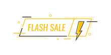 Flash Sale. Badge With Lightning Bolt. Banner Template Design For Business, Marketing And Advertising. Modern Flat Style Vector Illustration