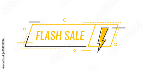 Obraz Flash sale. Badge with lightning bolt. Banner template design for business, marketing and advertising. Modern flat style vector illustration - fototapety do salonu