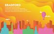 Bradford City Building Cityscape Skyline Dynamic Background Illustration
