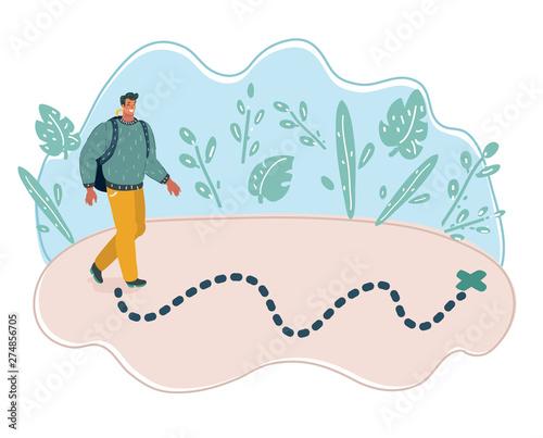 Fototapeta Man walking to the destination point.
