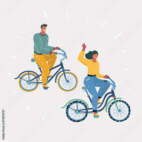 Man and woman cyclists spending nice time together