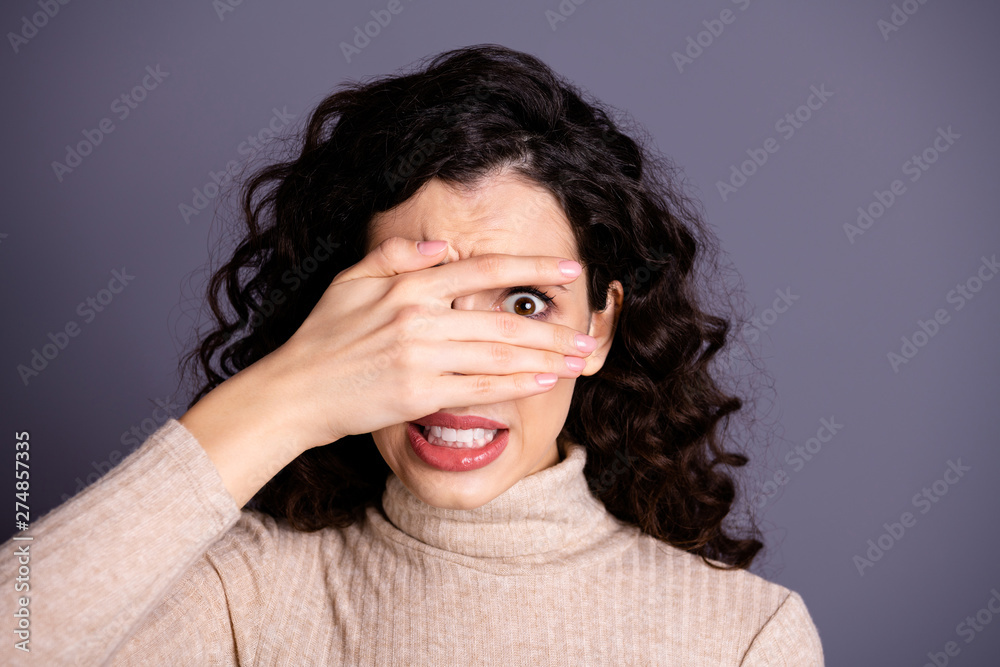Fototapety, obrazy: Close-up portrait of her she nice attractive pretty charming cute nervous terrified girlish wavy-haired lady prying hiding behind palm fingers isolated over gray violet purple pastel background