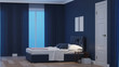 Modern house interior. Bedroom in blue tonnes. Night. Evening lighting. 3D rendering.