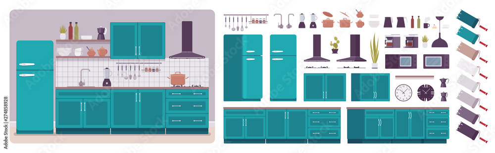 Fototapety, obrazy: Kitchen room interior, home creation set, ultramarine cabinet, vent hood, kit with furniture, constructor elements to build your own design. Cartoon flat style infographic illustration, color palette