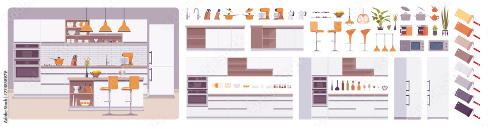 Fototapety, obrazy: Kitchen room interior, home creation set, eating area, food preparation kit with furniture, constructor elements to build your own design. Cartoon flat style infographic illustration, color palette
