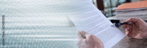 Fototapety, obrazy: Checking a document; panoramic banner