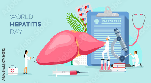 Fotografia  Concept of hepatitis A, B, C, D, cirrhosis, world hepatitis day