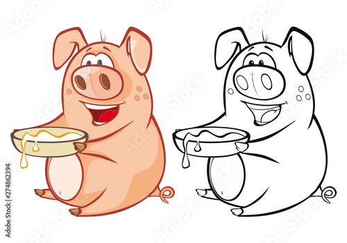 Montage in der Fensternische Babyzimmer Vector Illustration of a Cute Cartoon Character Pig for you Design and Computer Game. Coloring Book Outline Set