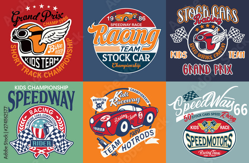 Kids cute speedway racing team badges collection vintage vector print for children wear