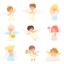 Cute Baby Angels With Nimbus A...