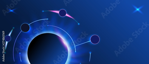 Foto  Abstract banner with round line on dark background