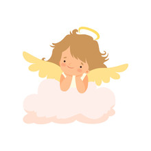 Adorable Girl Angel With Nimbus And Wings, Cute Baby Cartoon Character In Cupid Or Cherub Costume Vector Illustration