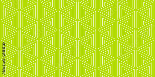 fototapeta na ścianę Summer background geometric triangle pattern seamless lemon green and white.