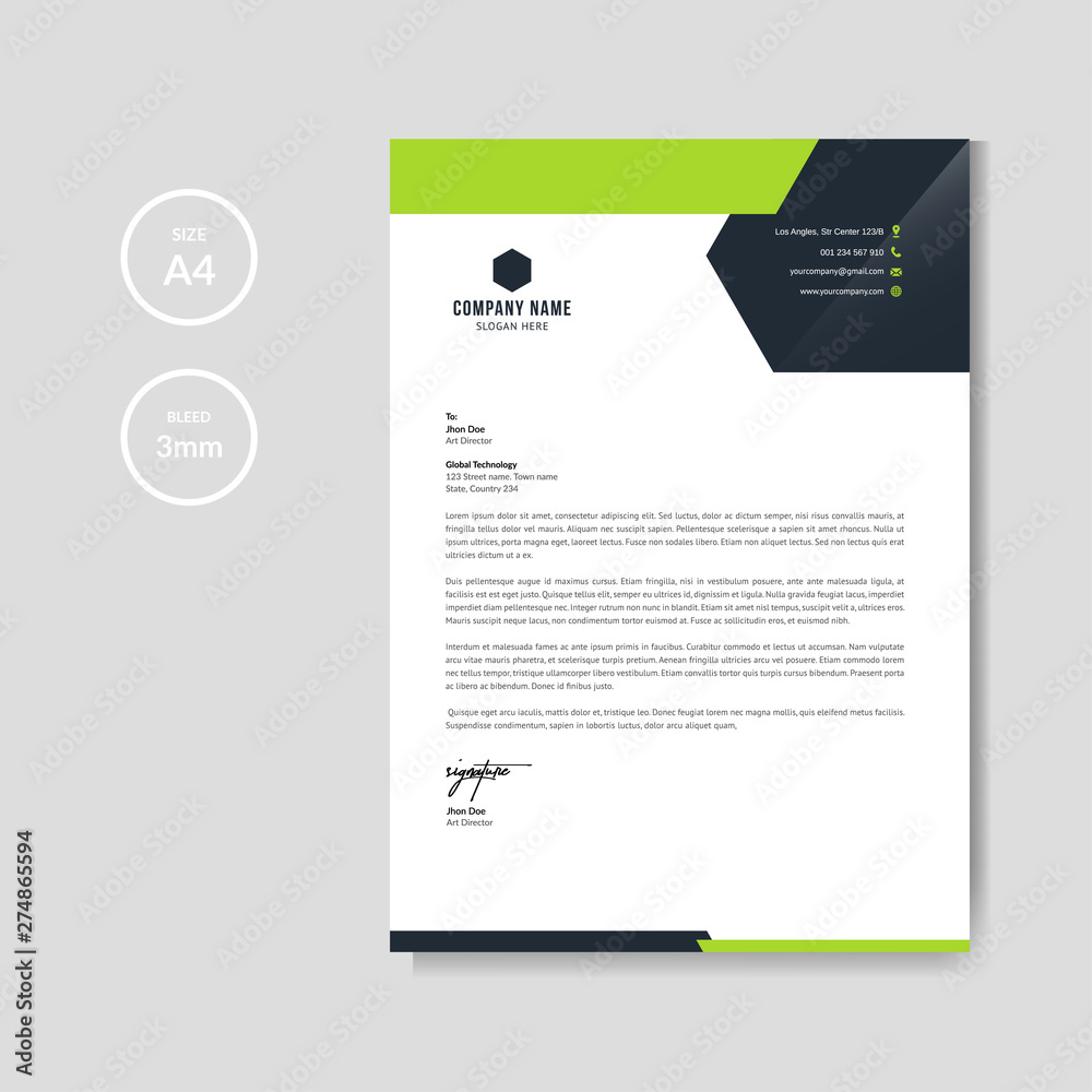 Fototapety, obrazy: Modern green business letterhead layout