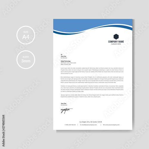 Fototapeta Modern blue wave business letterhead layout obraz