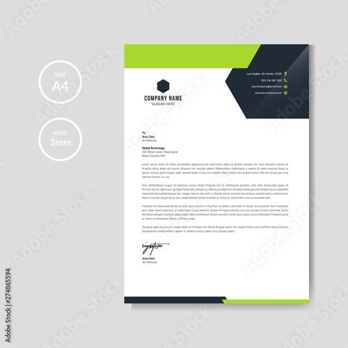 Fototapeta Modern green business letterhead layout obraz