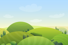 Cloudy Blue Sky Over Green Hills And Green Trees In Meadow Cartoon Cute Vector Illustration Landscape.