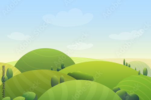 Fototapeta Cloudy blue sky over green hills and green trees in meadow cartoon cute vector illustration landscape. obraz