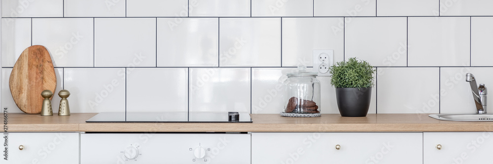 Fototapety, obrazy: Kitchen with wooden worktop