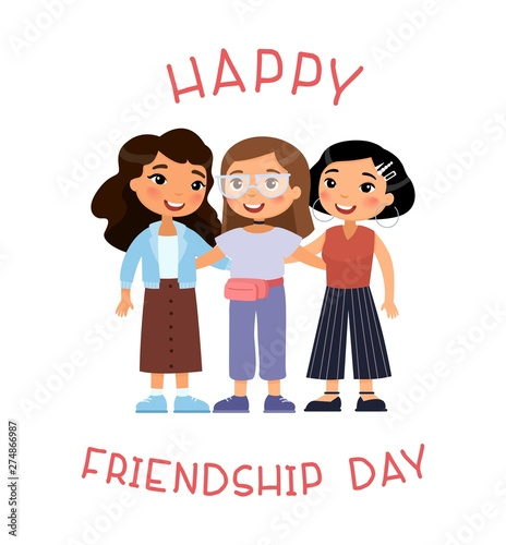 Happy Friendship Day Three Young International Women Friends Hugging Funny Cartoon Character Vector Illustration Isolated On White Background Buy This Stock Vector And Explore Similar Vectors At Adobe Stock Adobe Stock