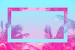Leinwanddruck Bild - Colorful tropical 80s 90s style coconut palm tree with futuristic mirror effect in pink and blue toned