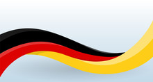 Germany Waving National Flag. Modern Unusual Shape. Design Template For Decoration Of Flyer And Card, Poster, Banner And Logo. Isolated Vector Illustration.