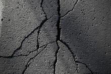 Asphalt In Cracks Texture / Abstract Background Cracks On Asphalt Road