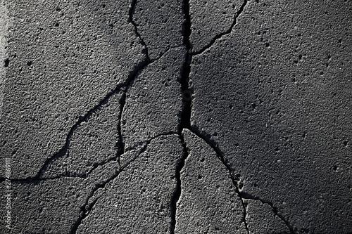Leinwand Poster asphalt in cracks texture / abstract background cracks on asphalt road