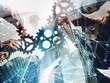 canvas print picture - Business team connect pieces of gears. Teamwork, partnership and integration concept. double exposure with network effects