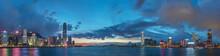 Panorama Of Skyline And Harbor Of Hong Kong City At Dusk
