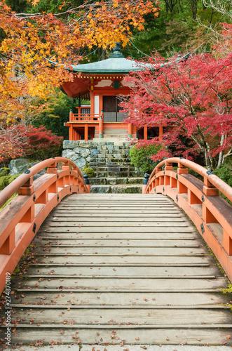 pavilion and bridge in japanese garden in Daigoji temple in autumn season, Kyoto, Japan