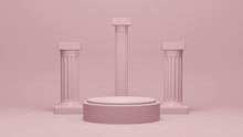 Pink Podium Pedestal In Ancient Greek Style, Realistic 3d Illustration. Minimal Scene In Pink Room With Marble Colonnade And Classic Columns.