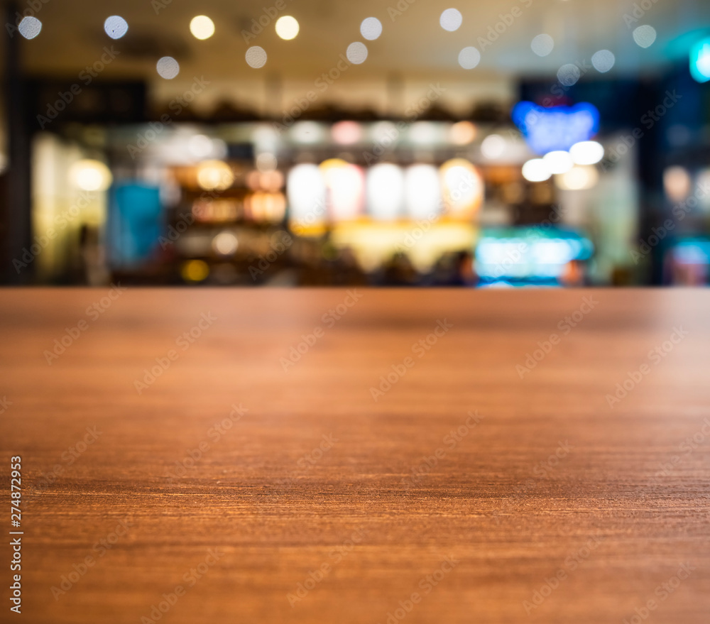 Fototapety, obrazy: Table top wooden counter Blur Bar cafe restaurant Interior background