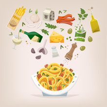 Famous Dish Of Italian Cuisine. Pasta With Bacon, Peas And Carbonara Sauce And Cheese. Throw Ingredients In The Air And Get A Perfect Spaghetti On A Plate. Vector Illustration.