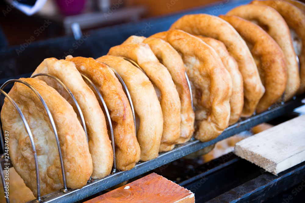 Fototapety, obrazy: Langos is the hungarian traditional fried dough pie