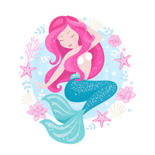 Badges. Beautiful Mermaid For T Shirts Or Kids Fashion Artworks, Children Books. Fashion Illustration Drawing In Modern Style. Cute Mermaid. Girl Print