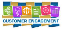Customer Engagement Business Symbols Colorful Horizontal Boxes