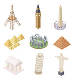 Fototapeta Fototapety z wieżą Eiffla - Isometric landmark. Famous building travel landmarks pyramids leaning tower big ben eiffel tower infographics world map vector set. Travel landmark, statue architecture, eiffel tower illustration