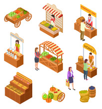 Farmers Market Isometric. People Sell And Buy Traditional Meal, Vegetables And Fruit On Food Marketplace With Stalls 3d Vector Set. Marketplace And Local Store, Market With Fruit Illustration