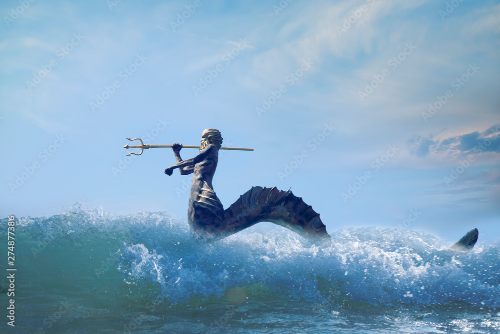 Fototapety, obrazy: The mighty god of the sea and oceans Neptune (Poseidon, Triton)