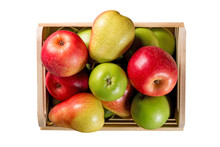 Ripe Apples And Pears In A Wooden Box Isolated On White Background. Autumn Seasonal Image With Top View.