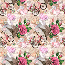 Hand Written Text, Notes, Hearts, Bicycle With Flowers In Basket, Vintage Photo Of Eiffel Tower, Rose Flowers, Postal Stamps, Feathers, Old Paper Texture. Seamless Pattern About Love, France, Paris